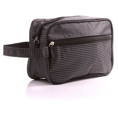LARGE MENS WASH BAG + WRIST STRAP Holiday/Travel Gents Toiletries Cosmetics Case