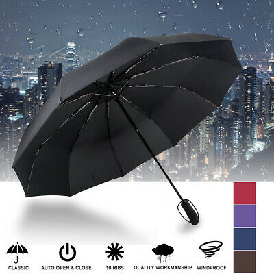 10 Ribs Strong Automatic Open Close Umbrella Folding Compact Windproof Travel