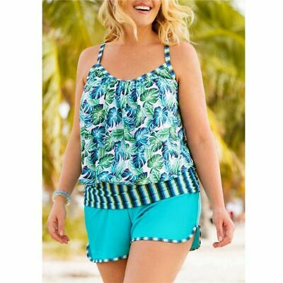 Plus Size Women Two Pieces High Cut Feather Tankini Push Up Swimsuits Swimwear