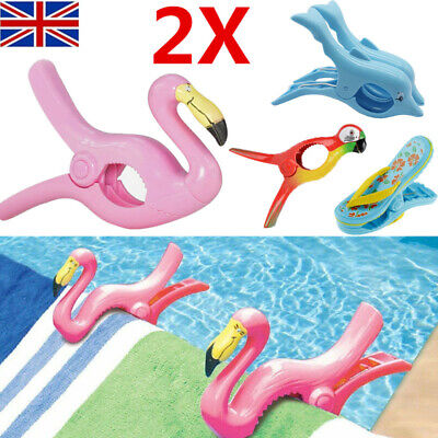 2PCS Plastic Sun Lounger Beach Towel Wind Clips Sunbed Pegs Pool Towel Clips