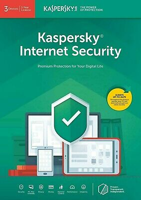 Kaspersky Internet security 2019 3 PC Device 1 Anno Originale Completo antivirus