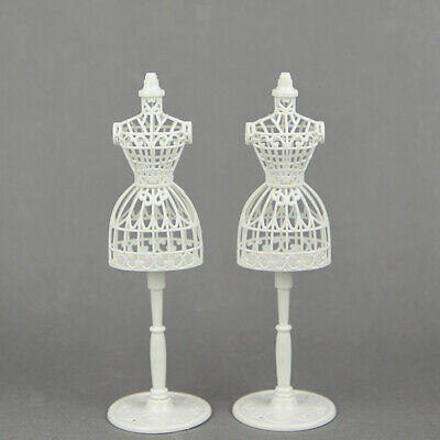 2Pcs 12inch Doll Display Stand Doll Clothes Hollow Display Rack Holder White