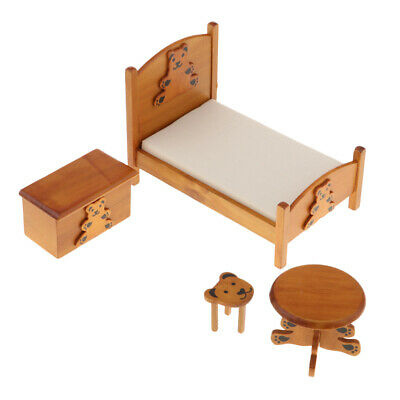 1:12 Mini Bedroom Model Furniture Bed Table Stool Night Table Sets Accessory