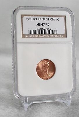 1995 Double Die Obv. IC  Lincoln Cent, NGC, MS67 Red.