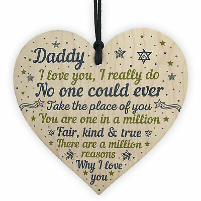 Daddy Daughter Gifts Fathers Day Gift Wooden Heart Dad Birthday From Son