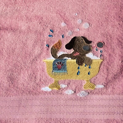 Dog Embroidered Bath Towel, New Home Gift, Embroidered Towel, Grooming Gift