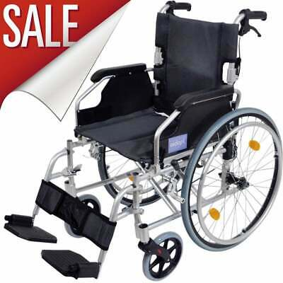 Aluminium Folding Wheelchair Self Propelled Lightweight Transit Hand Brake SALE