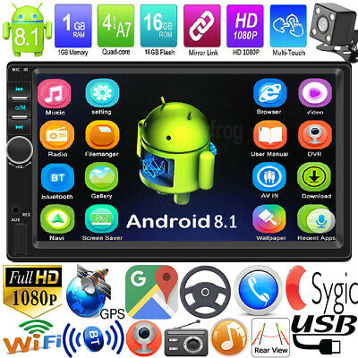"""Android 8.1 7"""" Double 2Din Quad Core GPS Navi WiFi Car Stereo MP5 Player AUX Cam"""