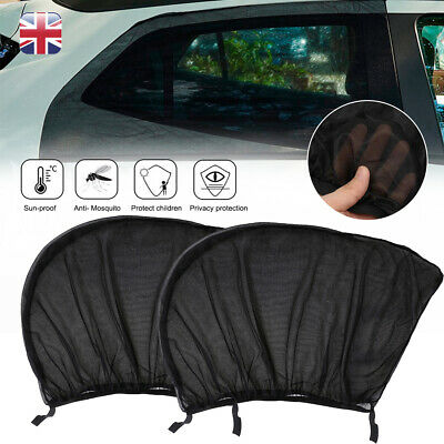 2x Universal Car Rear Window Sun Mesh Blind Shade Kids Child Sunshine Blocker