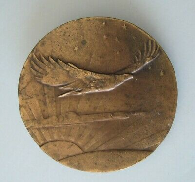Vintage Bergamot Brass Works Soaring Eagle Round Belt Buckle Napoleon 1970s USA