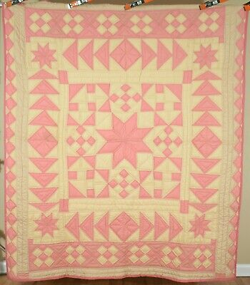 OUTSTANDING Vintage 30's Stars Medallion Flying Geese 9-Patch Antique Quilt!