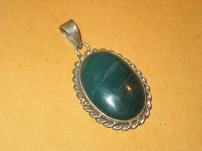 Green Agate & Sterling Hand Made Pendant  ~ Vintage