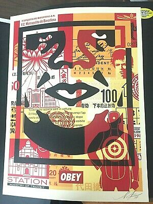 "SIGNED Shepard Fairey OBEY FACE COLLAGE ""BOTTOM"" Print Poster 18X24 david bowie"