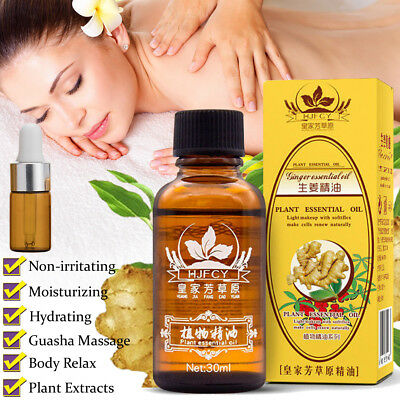 100% NATURAL  Plant  Lymphatic Drainage Ginger Oil Massage & Glass Bottle