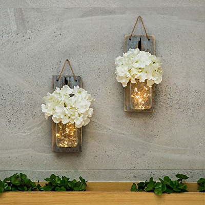 Mason Jar Sconce Wall Art Home Decor Lighted Rustic Country Farmhouse Nightlig