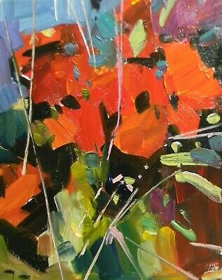 Jose Trujillo Red Orange Flowers Impressionism Abstract Floral Artist Nr