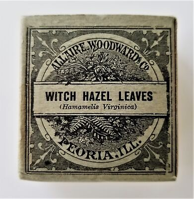 1906 antique Unused WITCH HAZEL LEAVES QUACK MEDICINE Allaire Woodward SEDATIVE