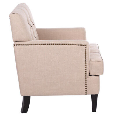 Classical Chaise Accent Chair Sofa Linen Fabric Upholstered Living Room Beige US