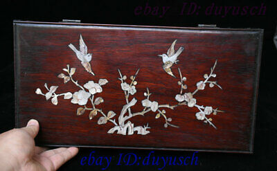 Old Chinese Huanghuali Wood inlay conch Flowers Bird pattern storage box boxes