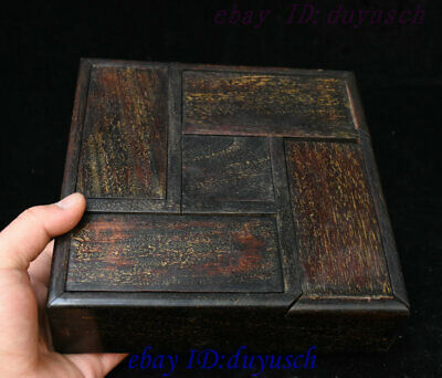"8"" Old Chinese Folk Huanghuali Wood handcrafted Jewelry Box Storage Boxes Statue"