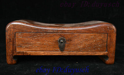 "10"" Old Chinese Huanghuali Wood handcrafted mechanism drawer Box pillow Statue"