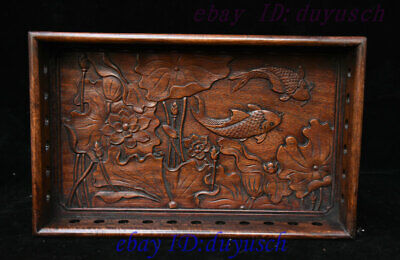 13 Old Chinese Huanghuali Wood Carved Lucky Lotus Fish Statue tray Pallets plate