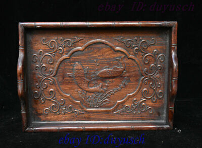 "13"" Old Chinese Folk Huanghuali Wood Carved Lucky Fish Statue tray Pallets plate"