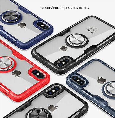 For iPhone X 8 7 6 360°Rotate Magnetic Ring Clear Hard Case Cover Slim Hybrid