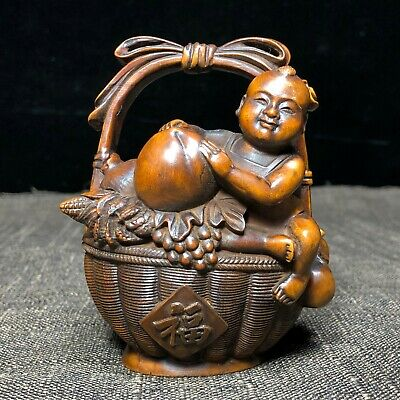 Old Boxwood Collectible Carved Chinese Auspicious Baby Sit Fruit Basket Statue