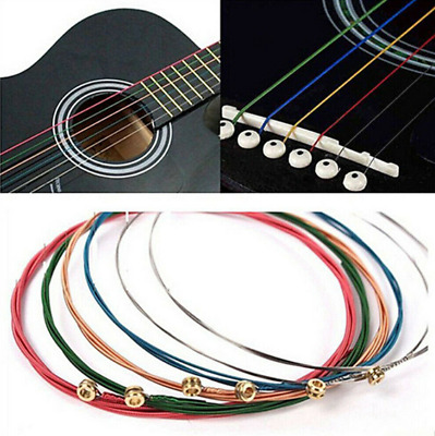 Rainbow Color One Set 6pcs Acoustic Guitar Strings Stainless Steel Guitar Gear