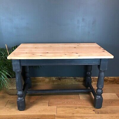 Rustic Painted Pine Table Refectory Blue Kitchen Dining Shabby Chic Vintage