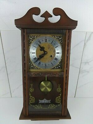 Vintage Chiming Wall Clock Korean Made Wooden Cased Winchester Chime 8 Day Brown