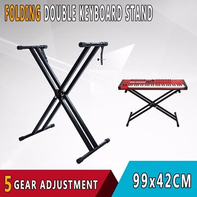 Adjustable Height Folding X Type Double-Braced Music Piano Keyboard Stand AU