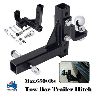 6 Hole Adjustable Tow Bar Trailer Hitch Tongue Ball Pin Cover Tongue 4WD 6500LBS