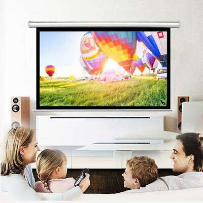 "84"" Home Movie Projector Projection Screen 16:9 Ratio Manual Pull Down White"