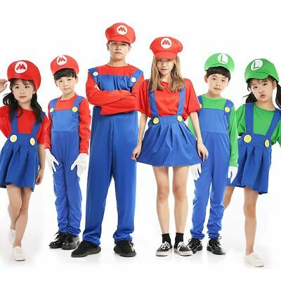 Men Adult Kids Women's Super Mario and Luigi Fancy Dress Cosplay Costume Outfit#