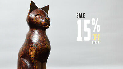 Wooden Cat Figure Handcrafted Cat Statue Table Deco Animal Figure