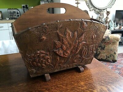 arts & crafts Repousse Copper Covered  Wooden Magazine,paper Rack