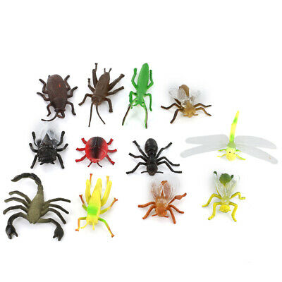 12pcs Plastic Insects Animal Display Model Figure Kids Funny Trick Play Toys