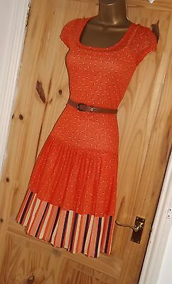Orange vintage style retro 50s 60s 70s stretchy repro Mad Men tea dress size 10