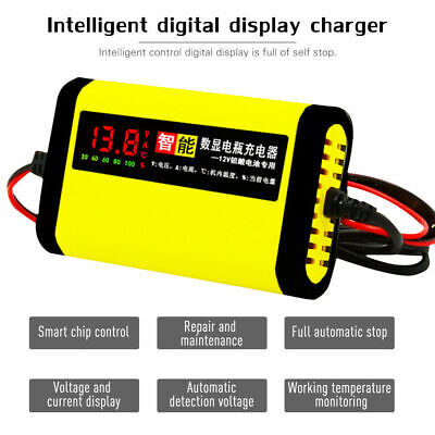 Car Motorcycle Lead Acid Battery Charger 12V 2A 3 Stages AGM GEL LCD Display