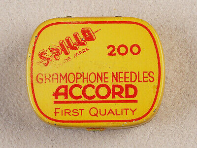 Vintage Czechoslovakia Phonograph Gramophone Needle Tin Spilla Accord