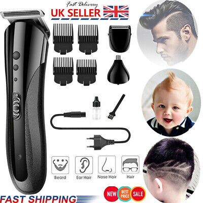 UK Rechargeable Hair Clipper Electric Shave Machine Razor Trimmer Haircut Set