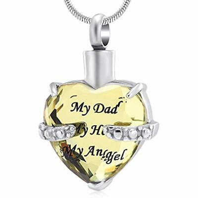 Crystal Decorative Urns Ashes Necklace - Always In My Heart Cremation Pendnat