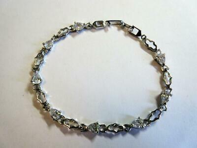 VINTAGE STERLING SILVER & PASTE DIAMOND 7 inch long TENNIS BRACELET - 5.6g!