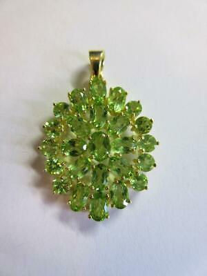 VINTAGE STERLING SILVER, GOLD GILDED GREEN GEMSTONE PENDANT - 5.7g!