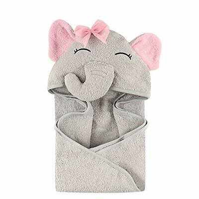 Hudson Baby Unisex Baby Animal Face Hooded Towel, Pretty Elephant 1-Pack, One Si