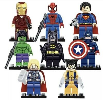 8pcs Marvel The Avengers  Mix Super Hero Toys - Hulk - Batman - Ironman