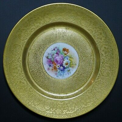 """Pickard Hand Painted Decorated Gold Encrusted 10 3/4"""" Dinner Cabinet Plate - B"""