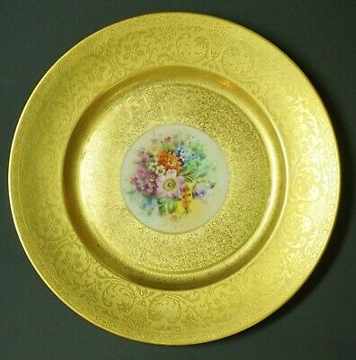 """Pickard Hand Painted Decorated Gold Encrusted 10 3/4"""" Dinner Cabinet Plate - D"""